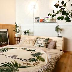 ヘッドボードDIY/ベッド/マリンライト/西海岸インテリア/ビーチリゾート風/観葉植物/... 南国ビーチをイメージしてボタニカル柄を取…