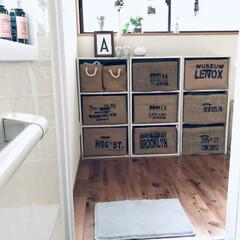 生活の知恵/DIY/ハンドメイド/脱衣所収納/脱衣所収納問題/脱衣所収納の見直し/... 脱衣所にカラーボックスを置いて ジュート…