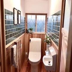 日本プラスター うま〜くヌレール 漆喰 クリーム 12UN02 うまくぬれーる 漆喰 粉 1個(珪藻土、漆喰)を使ったクチコミ「タイル貼り、漆喰、窓枠をDIYしたトイレ…」