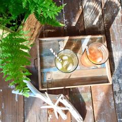 スムージー/DIY/古材風/シダ植物/鉢カバー DIYの古材風天板とOSB合板の鉢カバー…