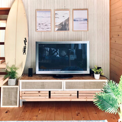 観葉植物/海を感じるインテリア/海/ビーチスタイル/サーフボード/DIY/... テレビ周りをビーチスタイルにしてます。 …
