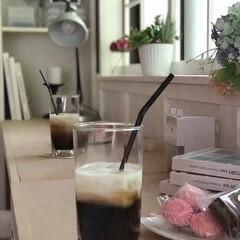 フェイクグリーン/ホワイトインテリア/カフェ風/格子窓/ワークスペース/学習机/... DIYしたワークスペースで休憩。 カフェ…