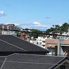 近所 富士山  ちょっとだけ、見えました。
