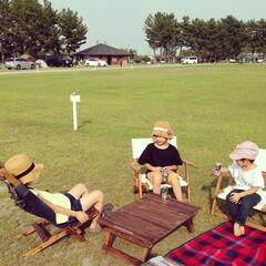 キャンプ/アウトドア/ニトリ/椅子/机/DIY/... 夏はキャンプ⛺️キャンプ大好き家族♡親は…