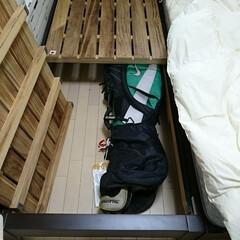 寝室収納/ベッド下収納/ゴルフバッグ/収納/暮らし 数年に1回程度しか出番のないゴルフバッグ…