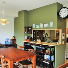 片づけ/収納/インテリア/ペイント/ダイニング/ライフオーガナイザー キッチンの壁をOILVEに。 アイアン家…