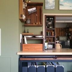 ナカバヤシ ライフスタイルツール ウォールボックス Mサイズ ブラック LST-WB02BK(筆箱)を使ったクチコミ「キッチンカウンター。 カウンター下の棚と…」