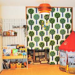 片づけ/収納/インテリア/IKEA/和室/キッズスペース/... 押入れの襖には布を巻いて、和室をポップな…