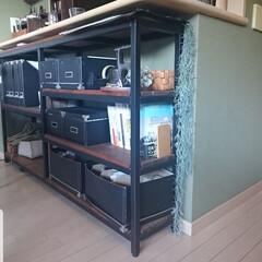 アイアン/ペイント/ダイニング収納/カウンター下収納/収納/暮らし ダイニングのキッチンカウンター下にはアイ…