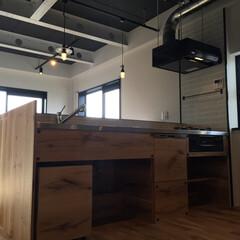 一戸建てリノベーション/マンションリノベーション/無骨/オーク材/男前インテリア/エイジング加工 オーク材の突板で作ったキッチンです