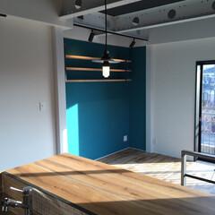 珪藻土/躯体現し/アイアン/足場板 キッチンからリビング方向。壁は珪藻土 天…