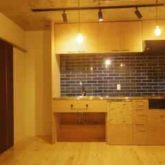 構造用合板/キッチン/タイル/コンクリート 構造用合板のキッチン