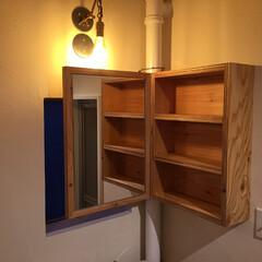 キャビネット/リノベーション/洗面所/構造用合板 洗面所に設けたキャビネット。
