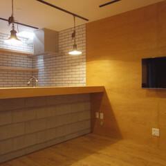リビング/構造用合板/壁掛けテレビ リビング部分