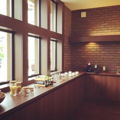 オーガニックハウス/滋賀/展示場/平屋/モデルハウス/キッチン/... 守山展示場のキッチン。 L型の広いカウン…