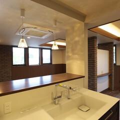オーガニックハウス/滋賀/注文住宅/施工事例/レンガ/リビング/... 内装にもレンガを取り入れました。土で出来…