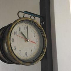 100均/時計/両面時計/100均リメイク/ガーデン用時計 両面時計