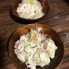 晩ご飯/台風 昨晩のご飯 ポテトサラダ、何故か急に旦那…