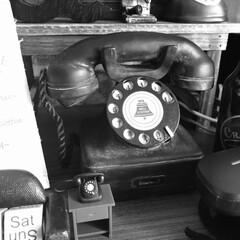 黒電話/昭和レトロ/雑貨 昭和レトロな黒電話なので、モノで撮影📸 …