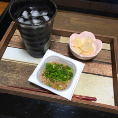 納豆/晩酌/フード 仕事終わって帰ってからの、1杯だけのお楽…