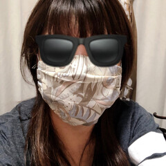 stay home/手縫いマスク 2枚目、いらなくなったハンカチで、手縫い…