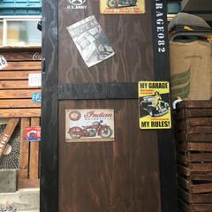 ガレージ/自転車/アメリカン/ステンシル/駐輪場/DIY 自転車用の屋根付きガレージを作りました〜!(1枚目)