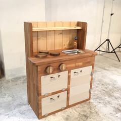 子ども部屋/タモ材/おもちゃ/サンプル/DIY/ままごとキッチン ままごとキッチンの試作品❤ めっちゃ頑張…