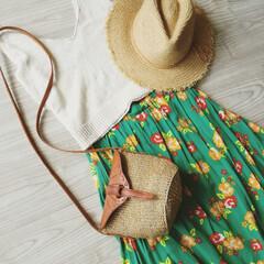 ファッション/プチプラコーデ/ママコーデ/サイザルバッグ/着回し 夏のはじめにホビーオフで1000円で購入…(1枚目)