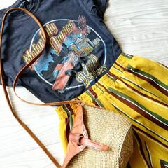 プチプラコーデ/ファッション/ママコーデ/ロックT/サイザルバッグ/着回し 夏のはじめにホビーオフで1000円で購入…