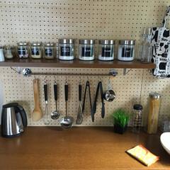 カフェ/カフェ風/DIY/棚/セリア/ニトリ/... 棚などは全て手作りです。カフェ風にしてみ…