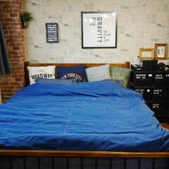 布団カバー/デニム/ベッドルーム/寝室 デニムが好きなのでデニムの布団カバーにデ…