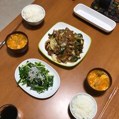 中華/スープ/キムチ/シラス/ネギ/回鍋肉/... 今日ゎ買い物行けなかったので、あるもので…(1枚目)