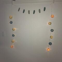 寝室/DIY/100均/ダイソー/住まい/コットンボール 💡寝室壁面💡 やわらかぃ感じに癒されてま…
