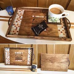手作りカフェトレイ/セリア/サビ加工 ただ敷くだけに使ってたワイン木箱蓋をカフ…