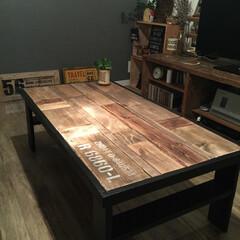 ローテーブル/端材/DIY/ステンシル 端材をフル活用したローテーブル♪ 天板と…
