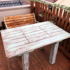 ベランダベンチ/DIY/ハンドメイド/キッチン/家具/住まい ベランダ屋根の端材でBBQテーブルを自作(1枚目)