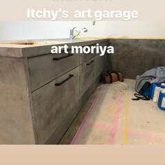 コンクリート/お洒落/デザイン/モルタル/モールテックス/キッチン/... 既製品のキッチンをモールテックス でオリ…