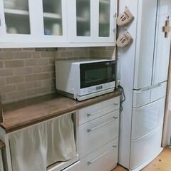 食器棚リメイク/TOSHIBA/TOSHIBA オーブンレンジ/ナチュラルインテリアをめざして/キッチン/ナチュラル/... オーブンレンジを買い替えました。 食器棚…(1枚目)
