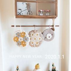 お正月インテリア/玄関/玄関インテリア/ニッチ/編み編み鏡餅/鏡餅/... 明けましておめでとうございます💕 本年も…