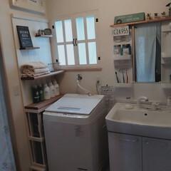DIY女子/洗面台リメイク/ランドリールーム/洗濯機周りの収納/隙間収納/DIY/... 洗面所のDIY。窓枠をDIYしてます。洗…(2枚目)