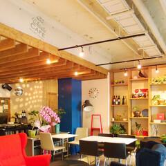 カフェ/ポップ/カラフル/ウッド/アート/ルーバー/... 店内はコンクリートの質感を残した白い空間…