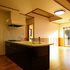 トクラスキッチン/腰板/無垢フローリング/木の家/人造大理石/キッチン/... シックな色のキッチンですが、 シンクの色…