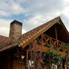 宇都宮/薪ストーブのある家/木の家/ログハウス/雲 雲が多めですが、久々の晴れ間☀️ でも、…