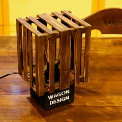 阿部興業株式会社/宇都宮/格子/エジソン電球/木の家/木の家づくり/... 100均で購入した木製カゴを2個組み合わ…
