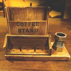 メモスタンド/益子焼/コーヒーのある暮らし/コーヒー/100均/DIY 100均グッズの組合せをあれこれ考えるの…