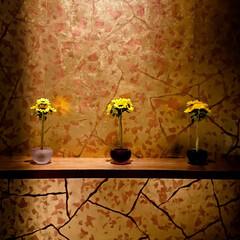 ひまわり/造花/アートフラワー こんな可愛らしい飾り方も、品があっていい…