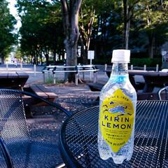 キリンレモン/暑い/公園 10月なのに暑い 秋はまだかな・・・