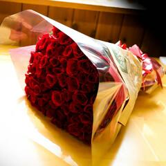 花束/傘寿/バラ 頂き物 父親の傘寿のお祝い バラの花束を…