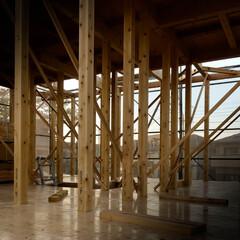 宇都宮/晴天/上棟/ひのきの家/木の家づくり 本日、上棟工事を行いました。 桧の香りが…(4枚目)