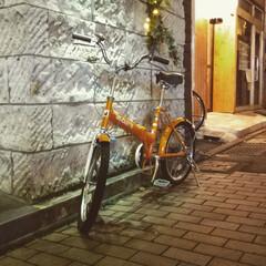 ユニオン通り/大谷石/宇都宮/自転車 夜の街角 寒空に自転車 寂しそうなので📸